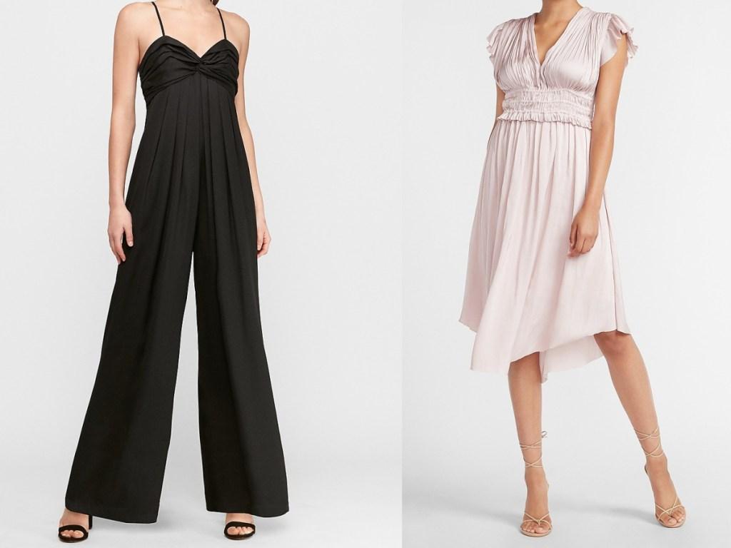 wanita dengan jumpsuit hitam dan wanita dengan gaun satin pink muda