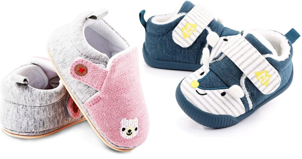 baby crib shoes in pink and grey with embroidered bear face and blue and white with fox face