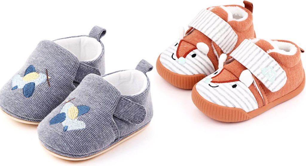 baby crib shoes in grey with embroidered airplane and orange fox faces