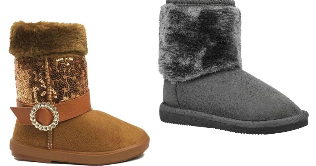 two pairs of faux shearling boots