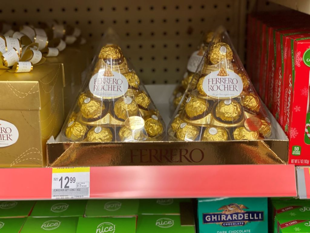 Ferrero Rocher Christmas Cones on shelf at Walgreens