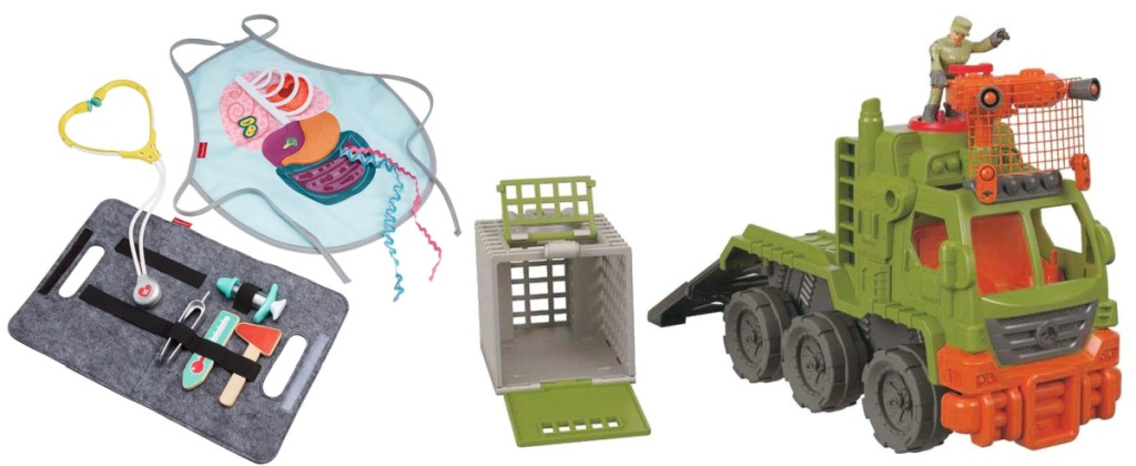 Fisher-Price 9-Piece Medical Play Patient and Doctor Kit and Fisher-Price Imaginext Jurassic World Dinosaur Hauler