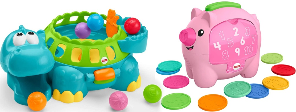 Fisher-Price Go Baby Go Poppity-Pop Musical Dino and Laugh & Learn Count & Rumble Piggy Bank