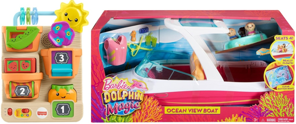 """Fisher-Price Laugh & Learn Peek & Play Busy Garden and Barbie Dolphin Magic Ocean View Boat with """"Glass Bottom"""" & Accessories"""