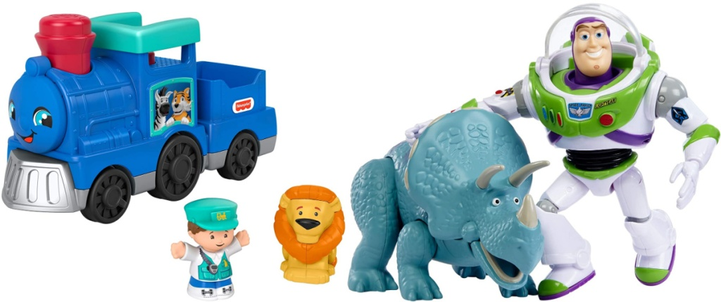 Fisher-Price Little People Animal Train and Toy Story Disney and Pixar Adventure 2-Pack Buzz Lightyear and Trixie