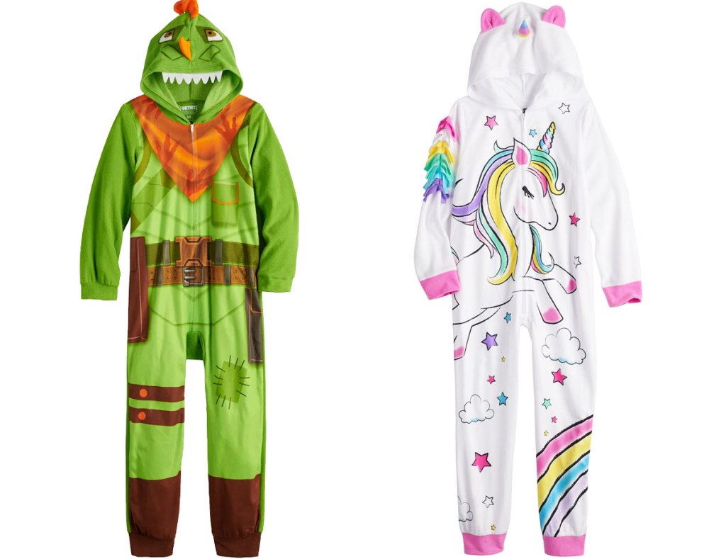two kids hooded one-piece pajamas in green fortnite character print and white and pink unicorn print