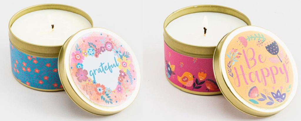 2 floral candle tins