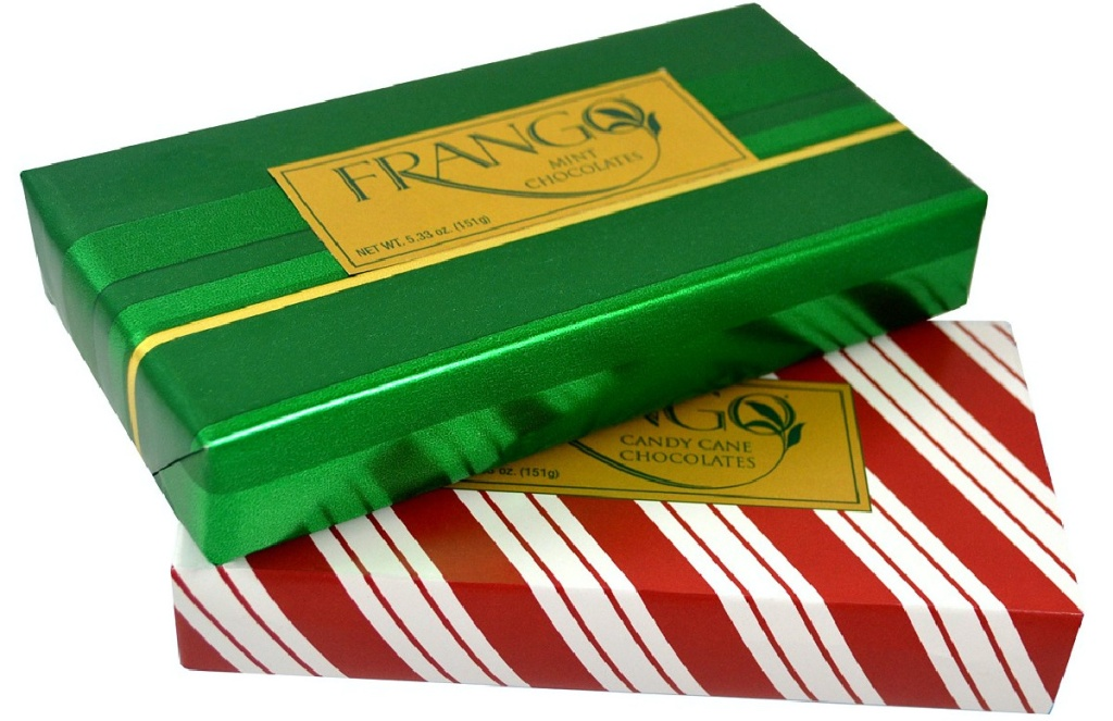 two holiday wrapped box of chocolates
