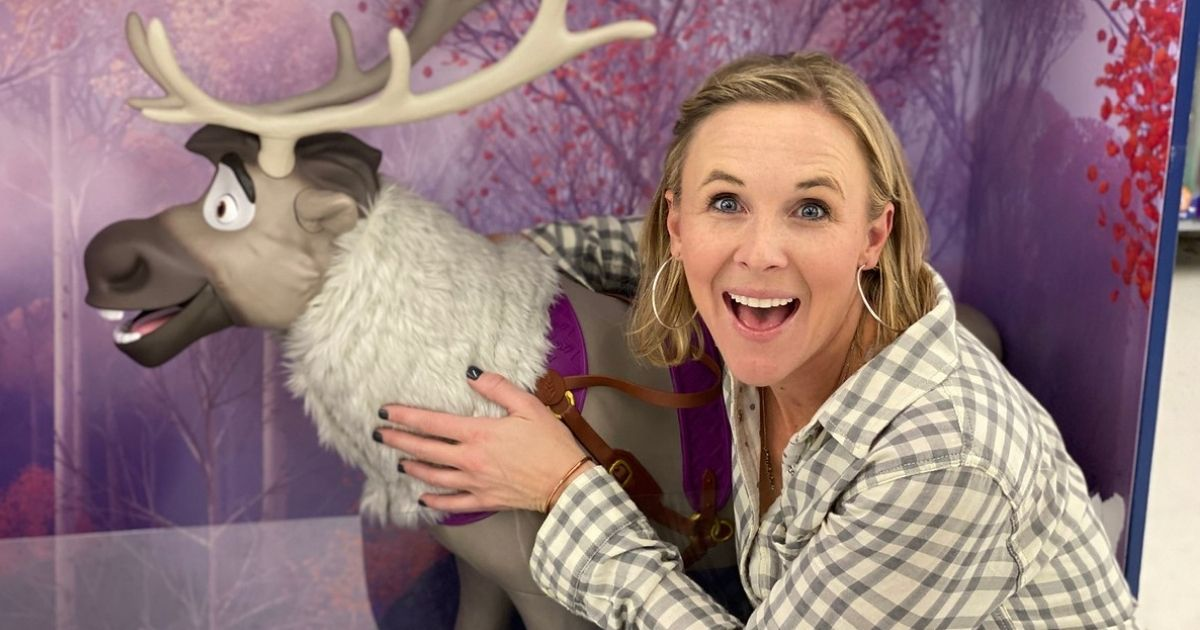 Woman with Frozen 2 Playdate Sven Toy