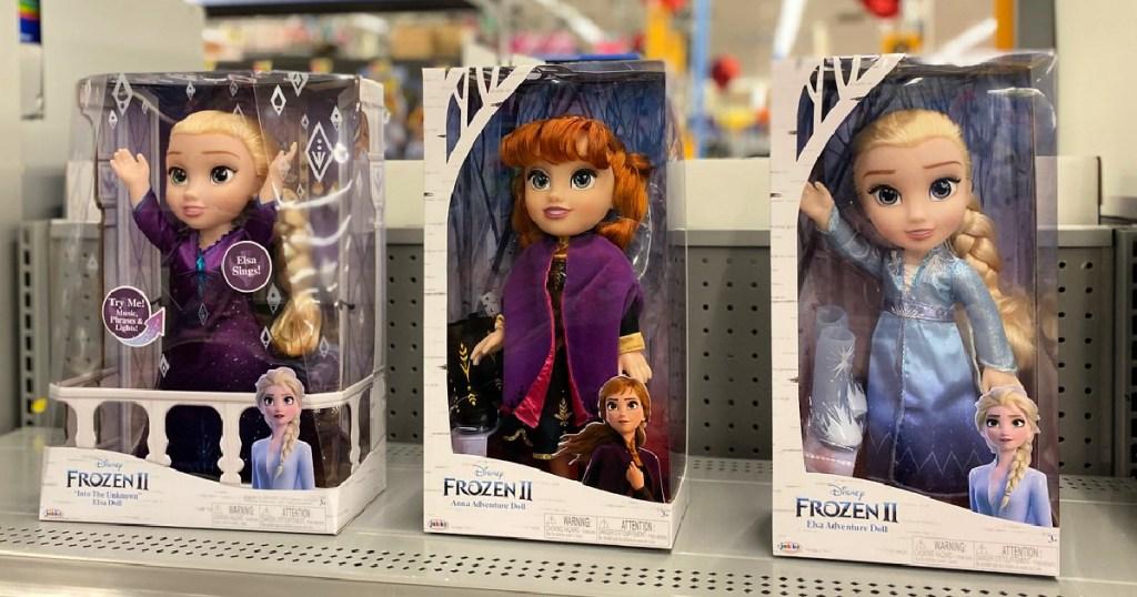 Frozen II Dolls on shelf at store