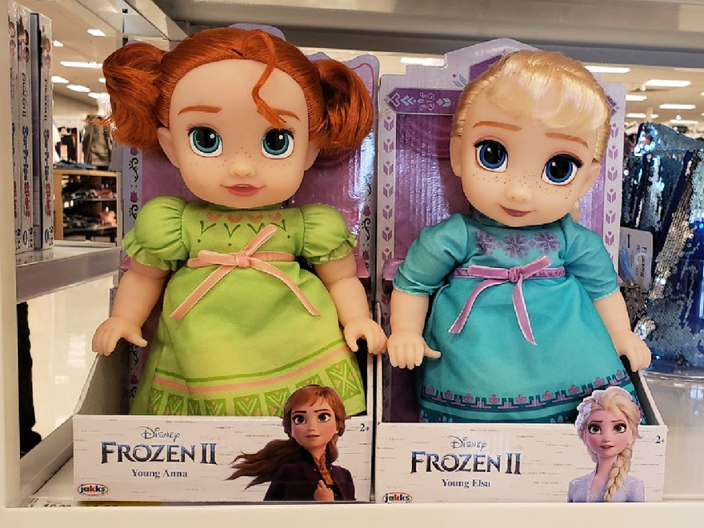 Frozen II Young Anna and Elsa Dolls on shelf at store