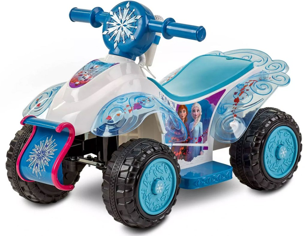blue and white disney frozen themed kids ride-on quad toy