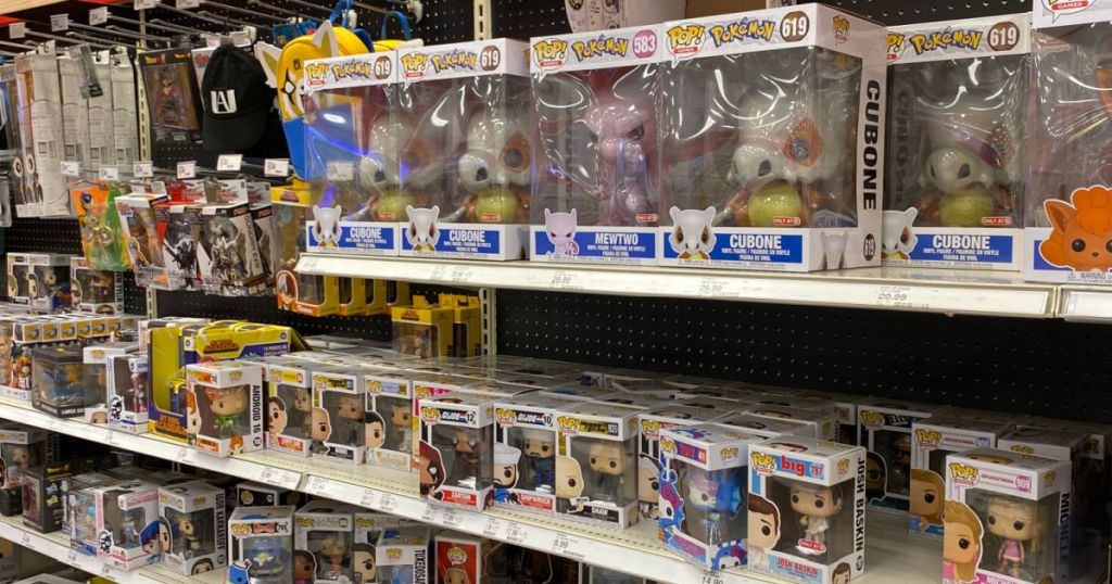 funko pop figures on shelf