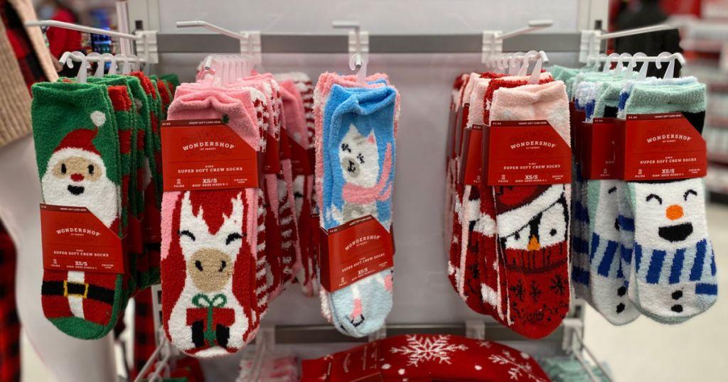 Socks hanging on shelf