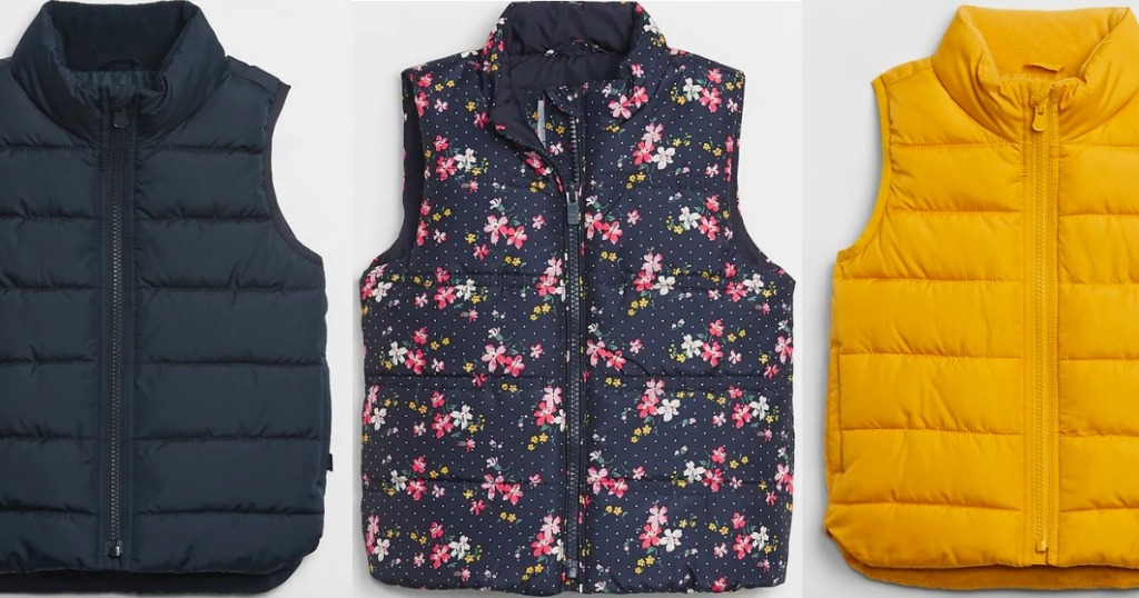 gap kids vests in layed out in a row