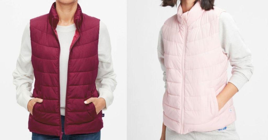 two women wearing puffer vests