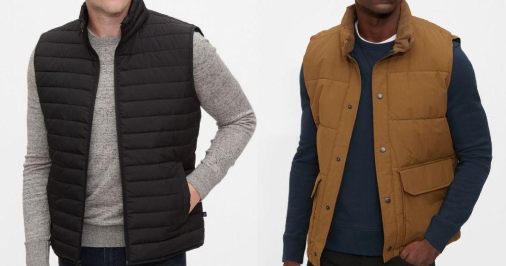two men wearing vests