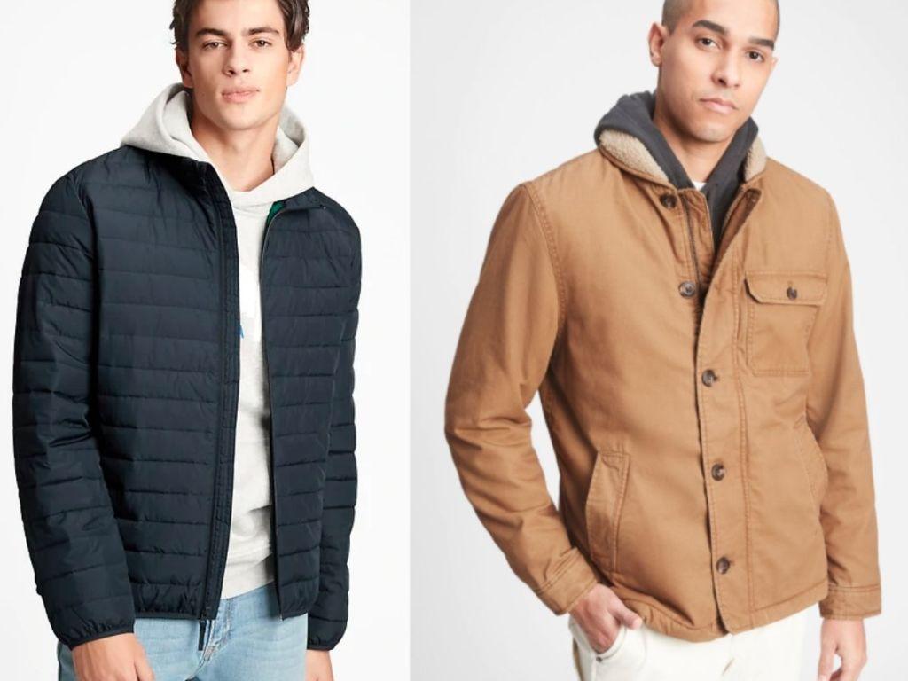 man wearing blue puffer coat and man wearing tan sherpa coat