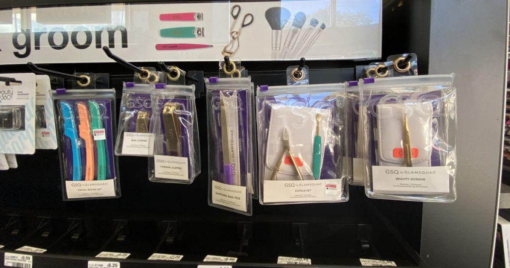 beauty tools on shelf