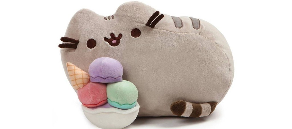 plush cat with a sundae