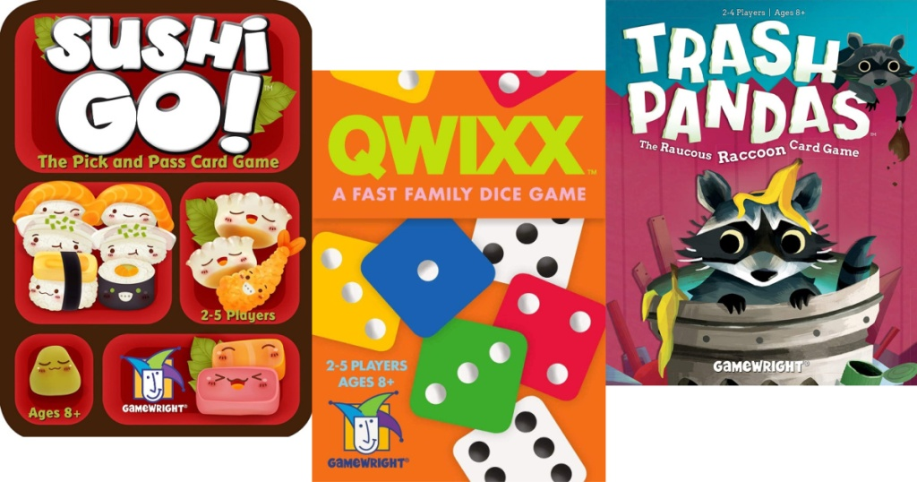 sushi go, qwixx and trash panda games