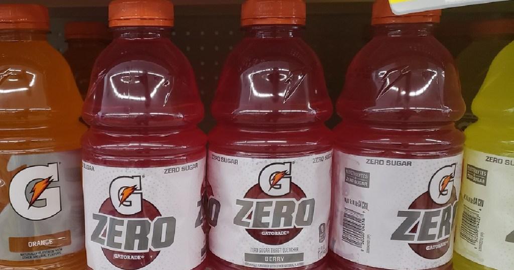bottles of sports drinks on store shelf