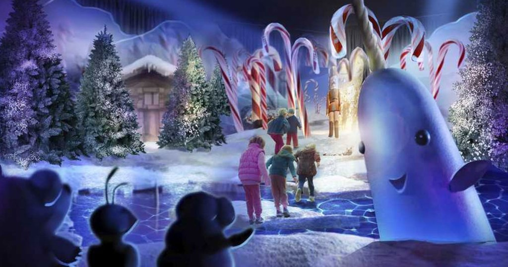 kids running through narwhal scene from ELF christmas movie