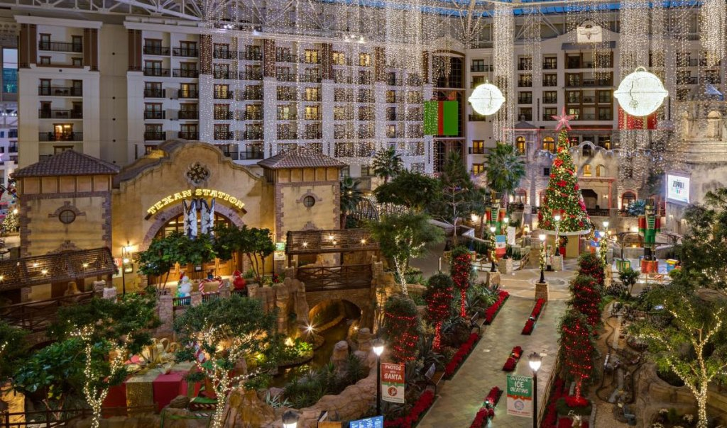 Gaylord Texan hotel decorated for christmas with white lights and decorations everywhere