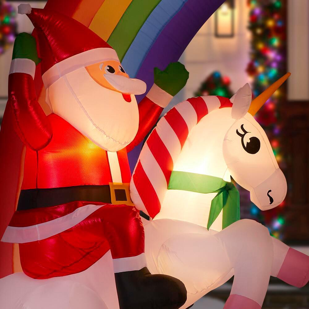 santa riding a unicorn