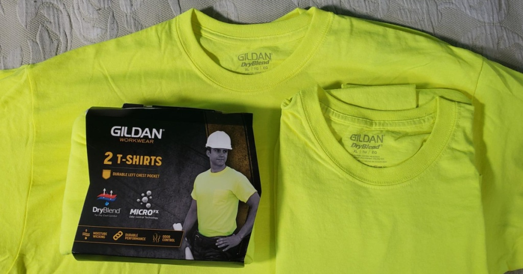 Gildan Men's Safety Tees in safety green