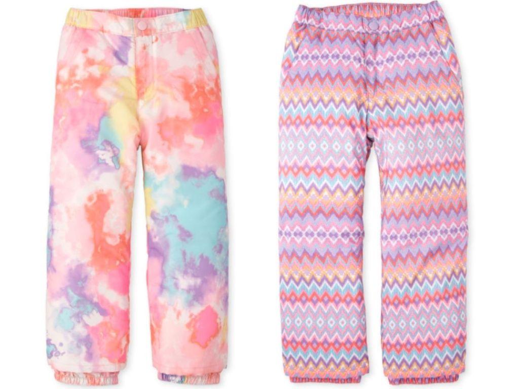 girls pink tie-dye or chevron snow pants