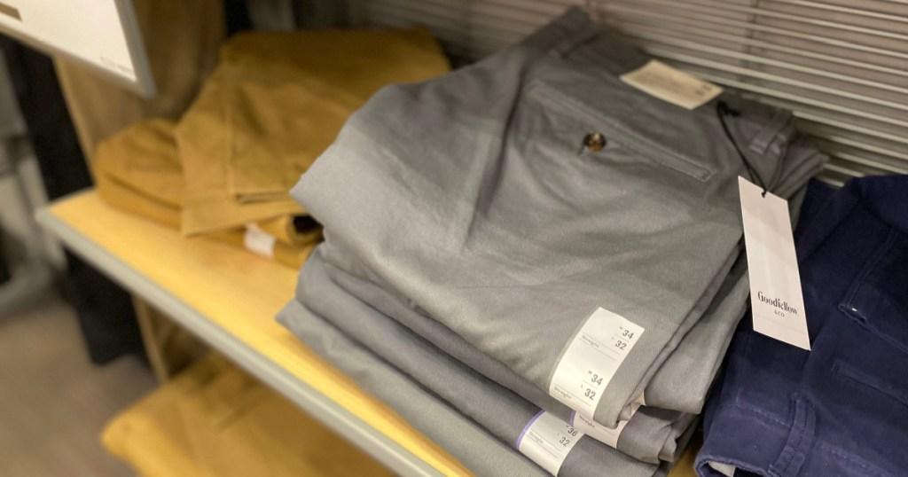 chino pants on shelf