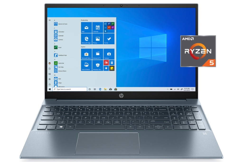 HP pavillion laptop in blue opened screen on