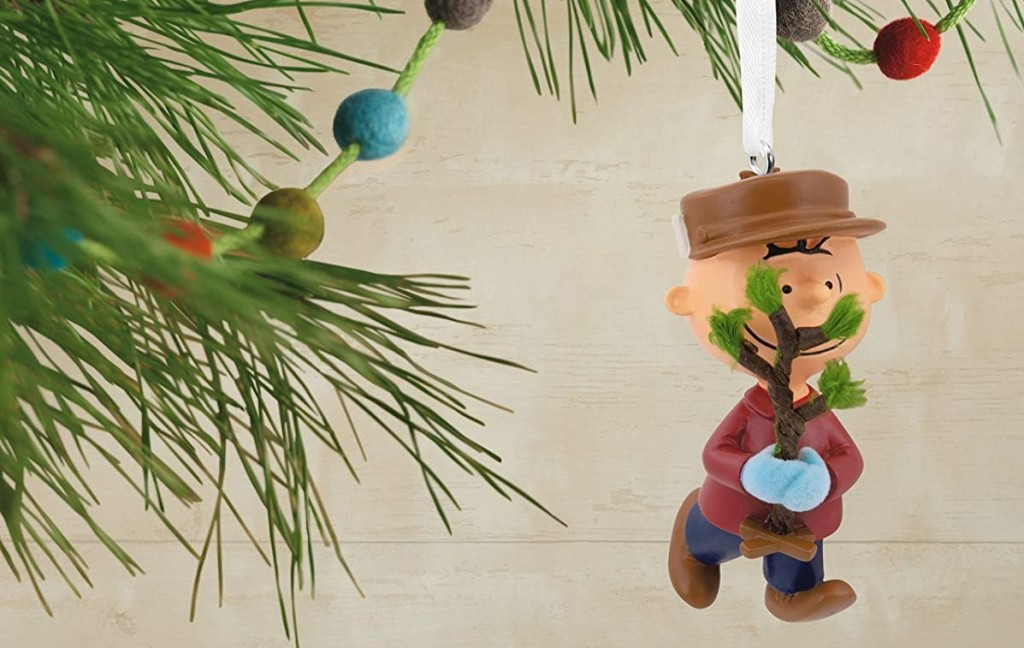 Charlie Brown ornament hanging on a tree