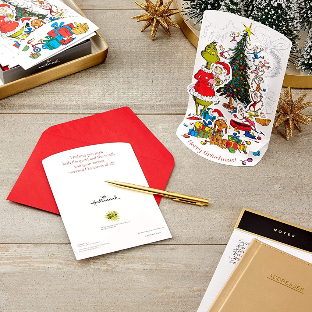 grinch cards with pen and envelopes