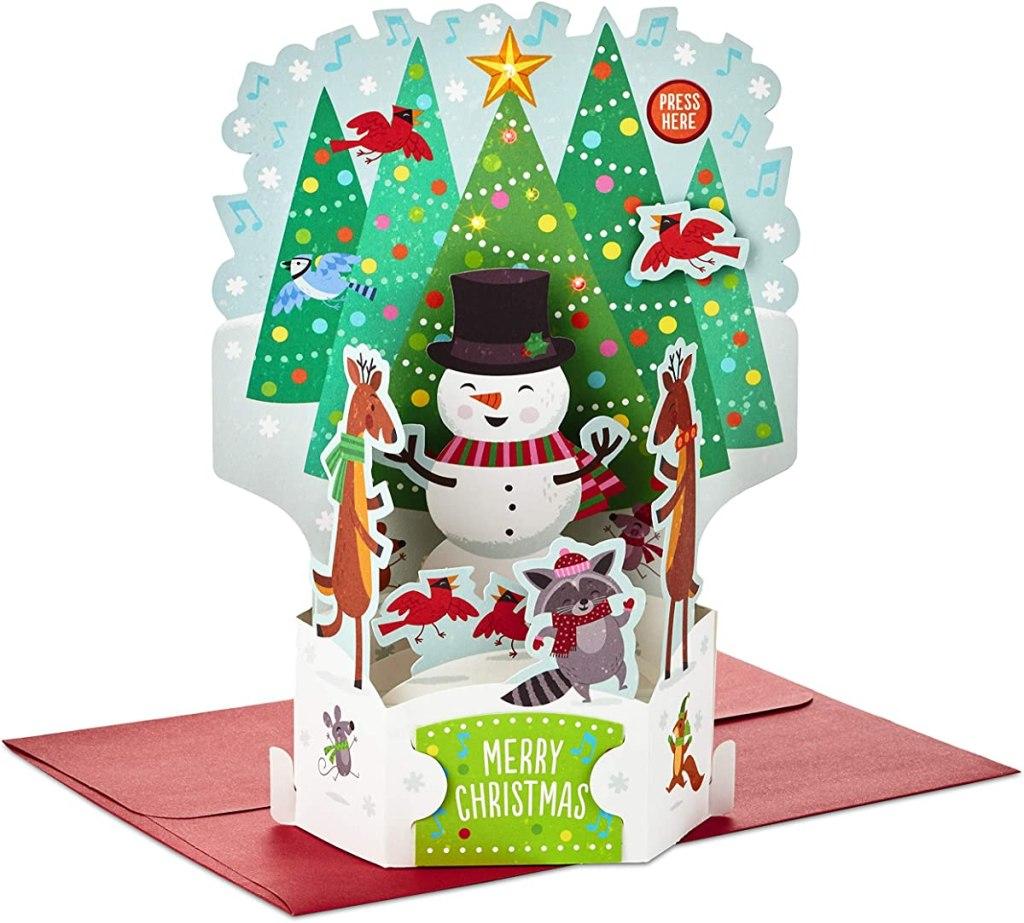 Hallmark Holiday Card with a pop-up snowman