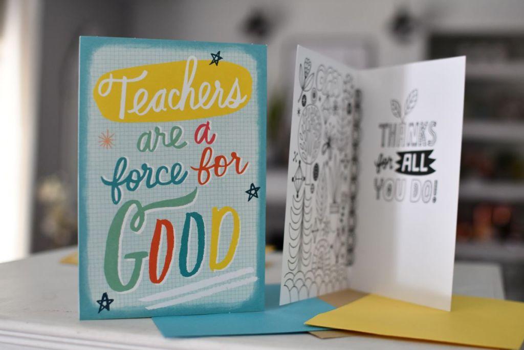front and inside of a Hallmark Teacher Card