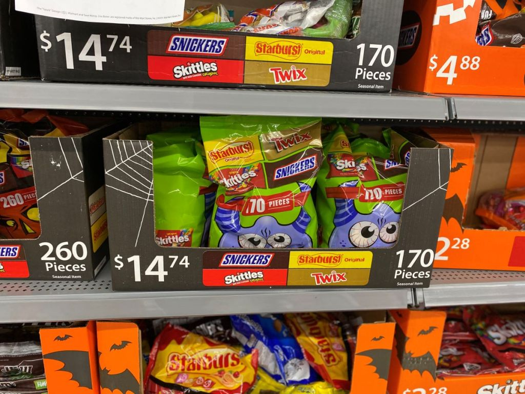 display of Halloween candy at Walmart