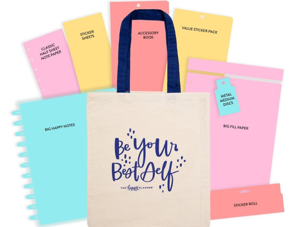 Happy Planner tote with mystery items around it