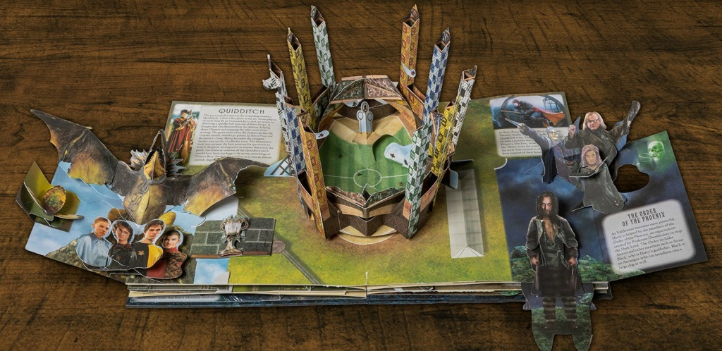 Harry Potter Quidditch field shown in pop-up book