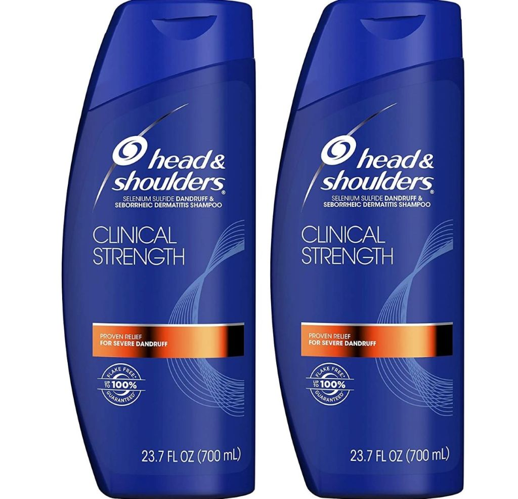 two bottles of Head and Shoulders Clinical Strength shampoo