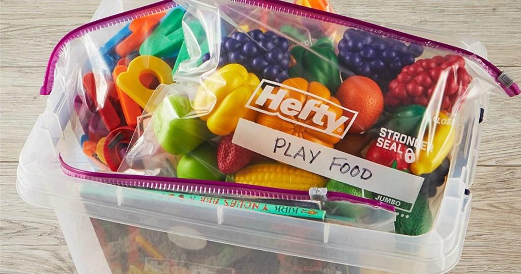 Hefty Jumbo Bags full of play food