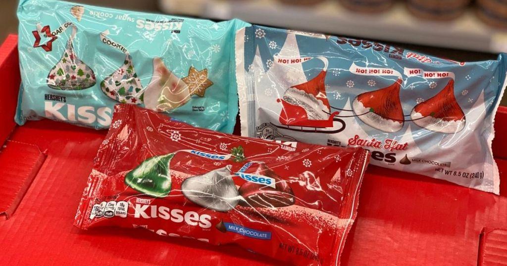 hershey's kisses on red shelf