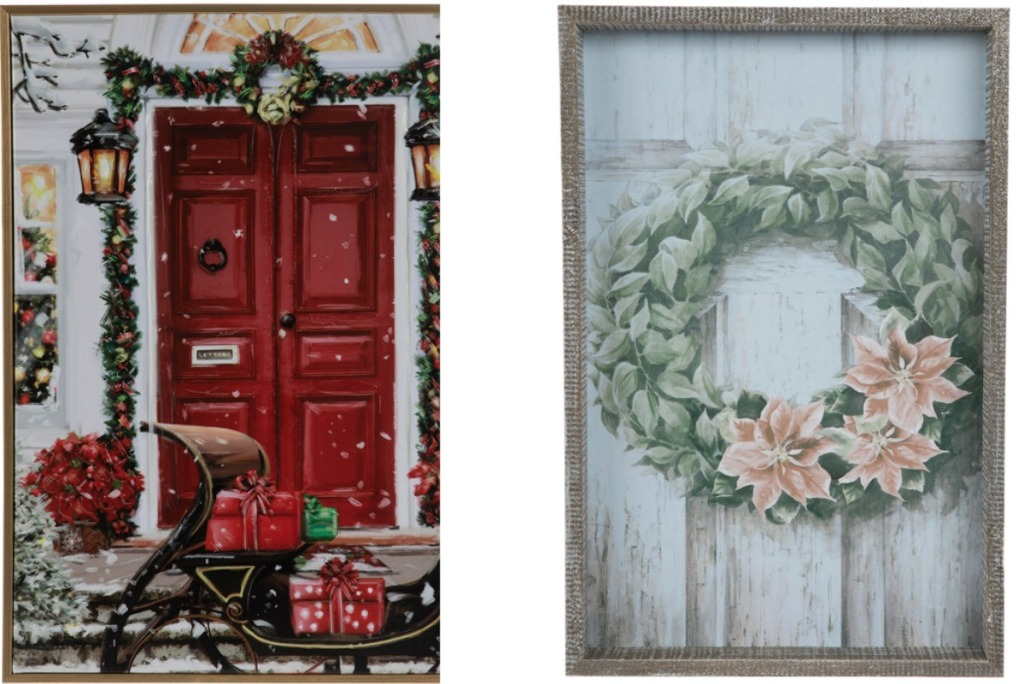 Two styles of Christmas themed signs