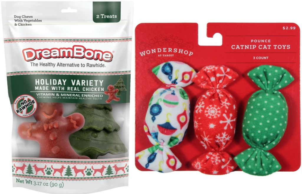 bag of gingerbread shaped dog treats and pack of three holiday candy cat toys