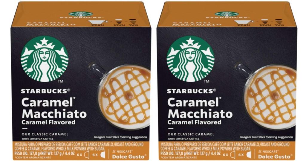 two boxes of starbucks caramel macchiato