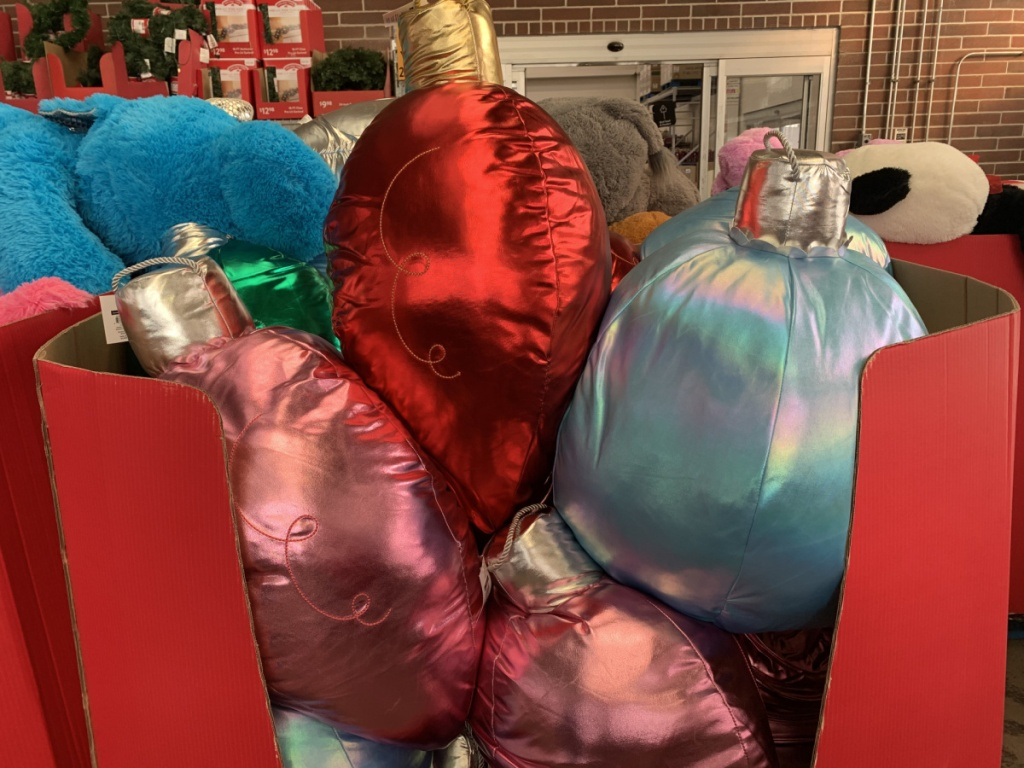 red box of christmas light pillows in store