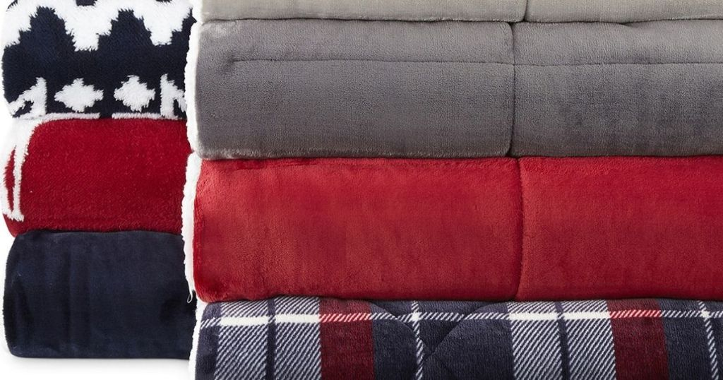 stack of throw blankets