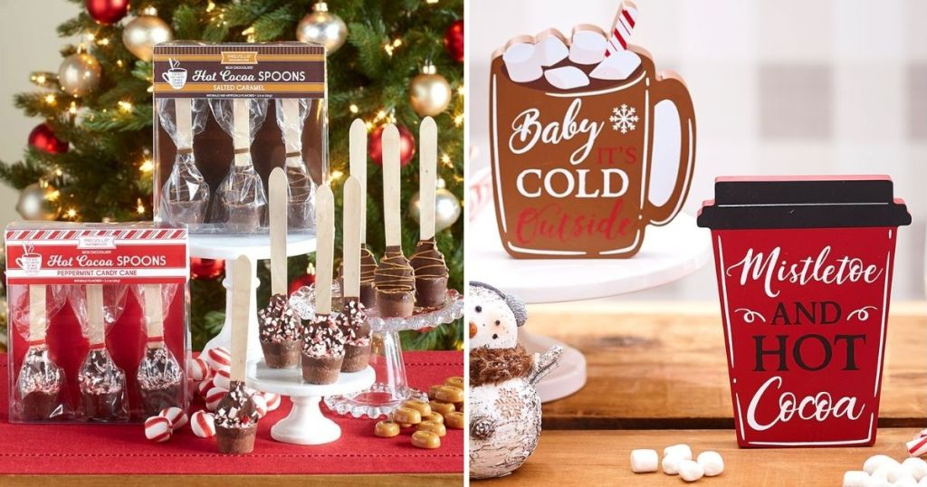 hot cocoa spoons by a Christmas tree next to image of hot cocoa signs