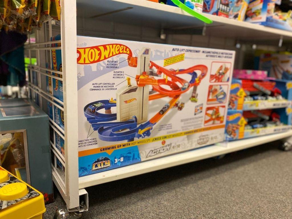 hot wheels track set on store shelf